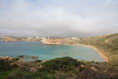 Malta's seascape. Maltese rocky seascape, island's west side, Riviera Bay, Malta Stock Images