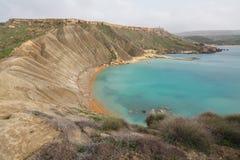 Malta's seascape. Maltese rocky seascape, island's west side, Gnejna Bay, Malta Royalty Free Stock Photos