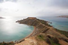 Malta's seascape. Maltese rocky seascape, island's west side, Gnejna and Riviera Bay, Malta Royalty Free Stock Photos
