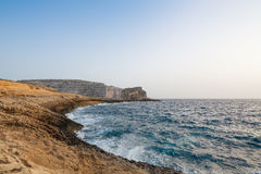 Malta's seascape. Maltese rocky seascape, west side of Gozo Island, Malta Stock Photography