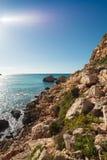 Malta's seascape. Maltese rocky seascape, island's west side, Gnejna Bay, Malta Royalty Free Stock Image