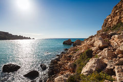 Malta's seascape. Maltese rocky seascape, island's west side, Gnejna Bay, Malta Royalty Free Stock Photography