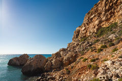 Malta's seascape. Maltese rocky seascape, island's west side, Gnejna Bay, Malta Royalty Free Stock Photo