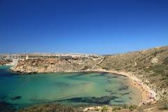 Malta's sunny beach. One of best Malta's beach - Ghajn Tuffieha Stock Photos