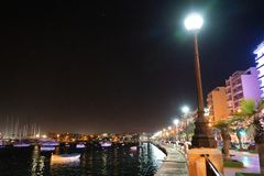 Malta`s Valletta harbor by night royalty free stock photos