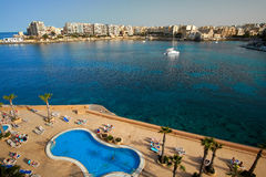 Malta-Saint Julien Bay Aerial View- 12 April 2016. Royalty Free Stock Photography