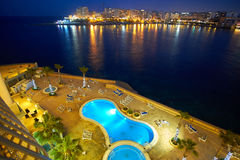 Malta-Saint Julien Bay Aerial View at night - 15 April 2016. Aerial View on Saint Julien , Malta Stock Photos