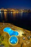 Malta-Saint Julien Bay Aerial View at night - 15 April 2016. Aerial View on Saint Julien , Malta Stock Images