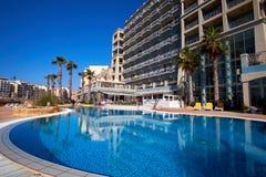 Malta-Saint Julien Bay View- 16 April 2016. Pool View on Saint Julien , Malta Stock Images