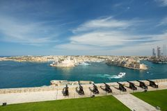Malta saluting battery. And boats Royalty Free Stock Image
