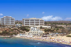 Malta, Sandy beach. View over the Golden Bay and sandy beach in the north-western part of Malta Royalty Free Stock Photography