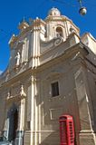Malta: Scenic Baroque architecture in the Old town of Valletta. One of typical Baroque churches from the Old town of Valletta, Malta Stock Photography