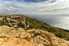 Malta seacoast Dingli Cliffs. Breathtaking, 220-250m-high cliffs on the south coast of the mainland island, Dingli Cliffs, Malta Stock Image