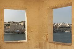 Malta, Senglea, Gardjola Watchtower. Malta, Senglea, view from Gardjola Watchtower windows, sunlit Royalty Free Stock Image