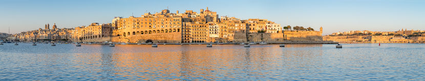 Malta, Senglea peninsula in morning light, panorama image Stock Image