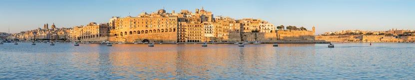 Malta, Senglea peninsula in morning light, panorama image Stock Image