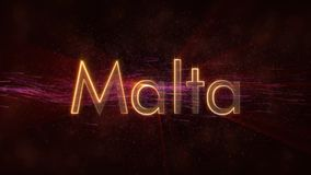 Malta - Shiny looping country name text animation royalty free stock image