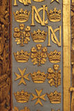Malta signs. Famous golded ornamentation in Malta, great palace Royalty Free Stock Photo