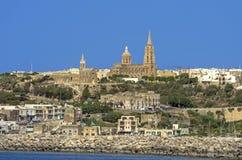 Malta sikter av Gozo Arkivfoton