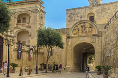The medieval citadel of Mdina. Baroque main gate constructed in 1724, entrance to  the Silent City, government and administrative centre during the medieval Royalty Free Stock Photo