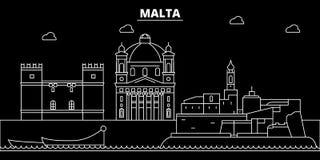Malta silhouette skyline, vector city, maltese linear architecture, buildings. Malta travel illustration, outline