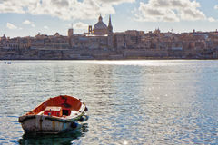 Malta - Sliema. Landscape from Sliema port with a small boat in the foreground Stock Photos