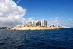 Malta, Sliema: Unique and scenic landscape of contemporary architecture of Valletta. Unique and scenic landscape of contemporary, new architecture in Sliema, a Royalty Free Stock Images
