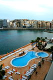 Malta, St. Julians panorama with hotel pool stock photo