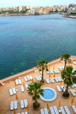 Malta, St. Julians panorama with hotel pool royalty free stock photos