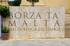 Malta Stock Exchange. Sign for the Malta Stock Exchange Borza Ta` Malta in Valletta Stock Image