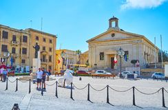Malta Stock Exchange, Valletta. VALLETTA, MALTA - JUNE 17, 2018: The Malta Stock Exchange houses in building of Garrison Chapel, situated in Castille Place, one Stock Images