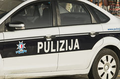 Malta, Streets of Bugibba. Close up of a Maltese Police car parked in front of building, Bugibba, Malta Royalty Free Stock Image