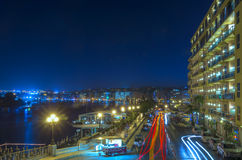 Malta - Streets of Sliema. Impressive night view of of a pleasant seaside resort - Sliema, Malta Royalty Free Stock Images