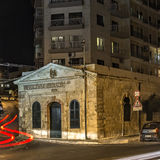 Malta - Streets of Sliema. Night view of the first sea water distillery on the island - Sliema, Malta Royalty Free Stock Photo