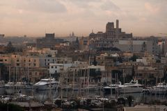 Malta at Sunrise seen from Sliema Harbour stock image