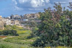 Malta Swieqi Valley countryside green area. Located within walking distance of Malta`s nightlife and entertainment centres, Paceville and St. Julian`s Royalty Free Stock Photos