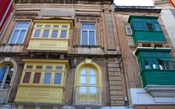 Malta, Three Cities, Colorful Maltese balconies, Valletta royalty free stock images