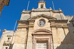 Malta, Three Cities, Details of Medieval church with Maltese crosses, Valletta royalty free stock images