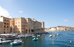 Malta, Three Cities, Landscape of Il Birgu Valletta. Beautiful landscape of historic buildings in Il Birgu, one of the Three Cities, located opposite, the Royalty Free Stock Images