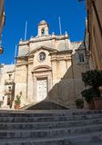 Malta, Three Cities, landscape of Medieval Maltese church in L-Isla, Valletta. Landscape of Medieval Maltese church in L-Isla, one of the Three Cities, located Royalty Free Stock Photos