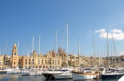 Malta, Three Cities, Marine at L-Isla, Valletta. Beautiful landscape of marine and historic, Medieval buildings and bay in L-Isla, one of the Three Cities Stock Image