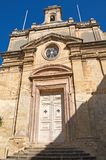 Malta, Three Cities, Medieval church with Maltese crosses, Valletta. Facade of Medieval church with traditional Maltese crosses in L-Isla, one of the Three Royalty Free Stock Photos
