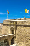 Fortifications of Malta - Three Cities. Old fortifications in the historic Città Vittoriosa, medieval base of the Order of Saint John and main city of Malta Royalty Free Stock Photo