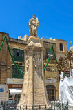 Malta - Three Cities. Statue of St Lawrence, patron saint of the town, in the oldest part of the historic Città Vittoriosa, main city of Malta from 1530 to 1571 Stock Images