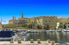 Malta - Three Cities. View of Cospicua (Isla) from Vittoriosa (Birgu) - Malta Stock Photography
