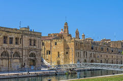 Malta - Three Cities. View of Cospicua (Isla) from Vittoriosa (Birgu) - Malta Stock Images