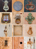 Malta, traditional architectural details. Collection of traditional keyholes, ornate door handles, unusual door hammers and window bars. Malta Royalty Free Stock Photos