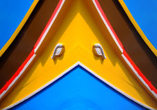 Malta Traditional Boat. Traditional colors and eyes found on the traditional Malta fishing boats, commonly known as luzzu or dghajsa. The eyes are said to come Royalty Free Stock Image