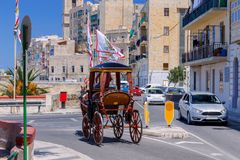 Malta. A traditional horse cart. A traditional horse-drawn carriage on street of Valletta. Malta Royalty Free Stock Images