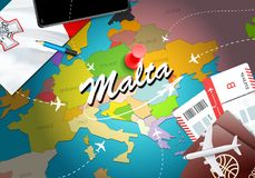 Malta travel concept map background with planes,tickets. Visit Malta travel and tourism destination concept. Malta flag on map. Planes and flights to Maltese vector illustration